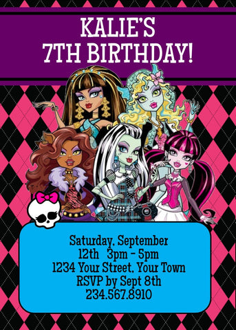 Monster High Party Invitation 1 - Editable!