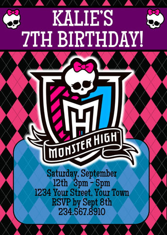 Monster High Party Invitation 2 - Editable!