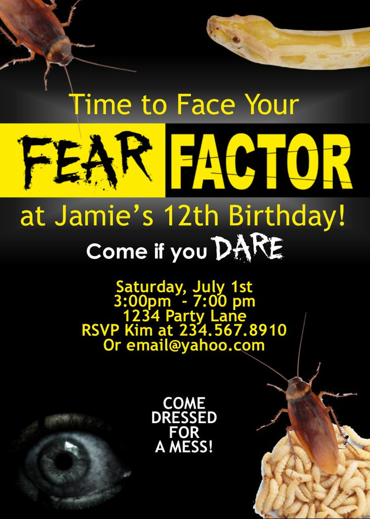 Fear Factor Party Invitation Editable Partygamesplus
