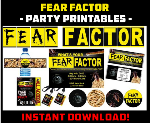 Fear Factor Party Printables - EDITABLE!