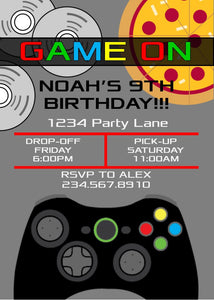Game On Boys Sleepover Invitation - Editable!