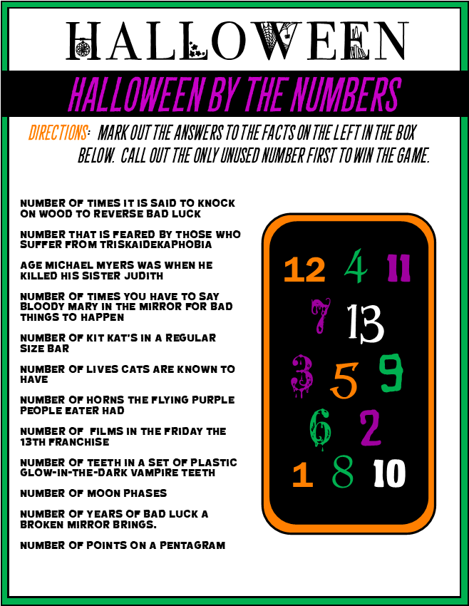 Halloween - By the Numbers Game