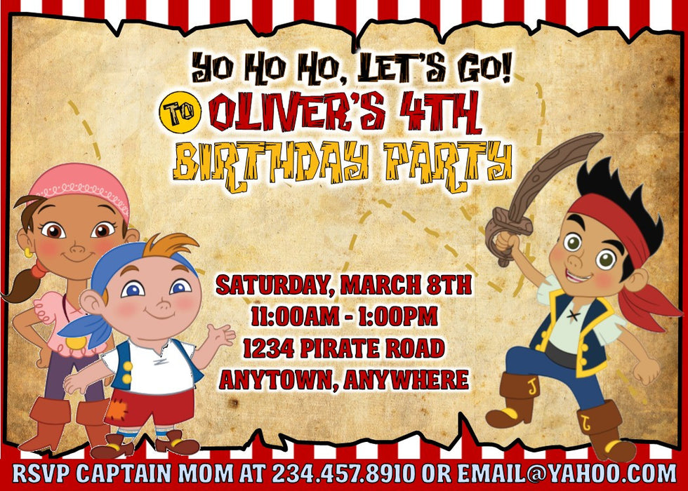 Jake and the Neverland Pirates Party Printables - PERSONALIZED ...