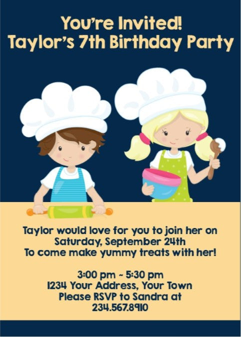 Little Bakers Party Invitation - Editable!