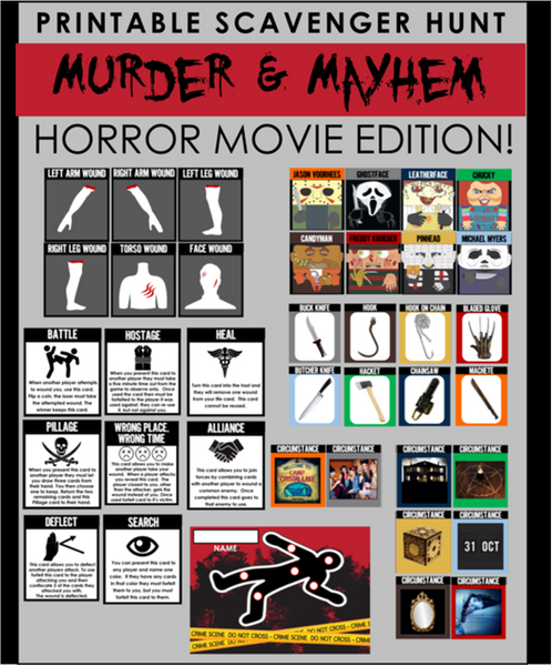 Murder & Mayhem Scavenger Hunt - Horror Movie Edition