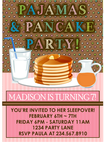 Pajama and Pancakes Sleepover Party Invitation - Editable!