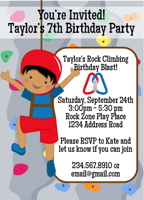 Rock Climbing Birthday Party Invitation 1 Editable PartyGamesPlus