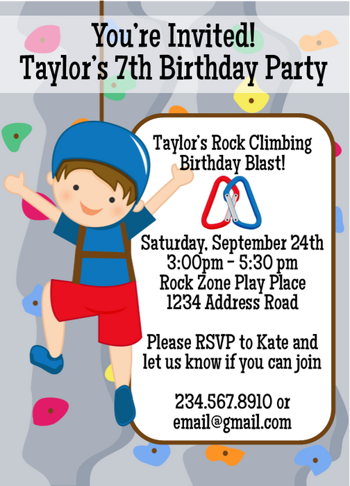 Rock climbing birthday party invitation 2 editable partygamesplus rock climbing birthday party invitation 2 editable stopboris
