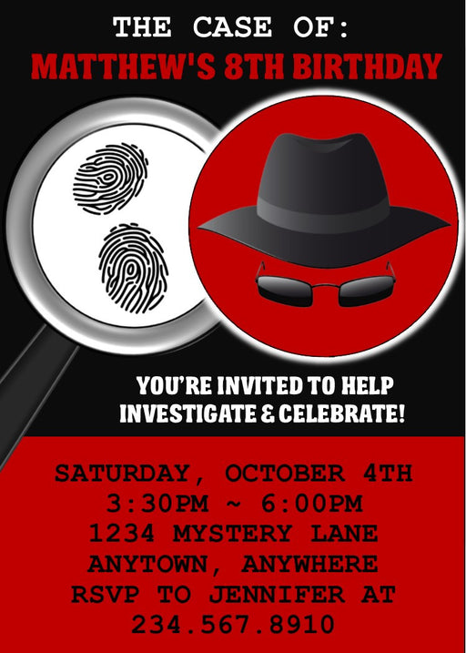 Spy / Secret Agent Party Invitation - EDITABLE