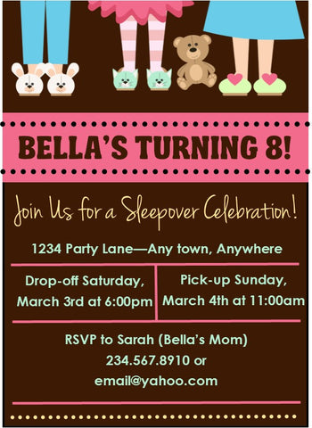 Slippers and Teddy Bears Sleepover Invitation - Editable!