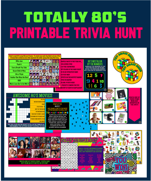 Totally 80's Trivia Party Hunt - Printable Game!