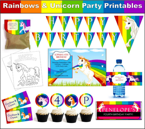 Rainbows & Unicorns Party Set - EDITABLE!