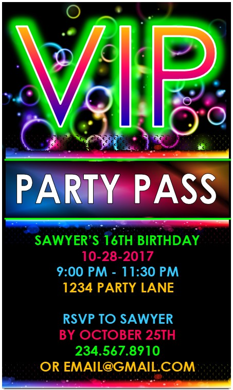 VIP Glow Party Invitation - EDITABLE