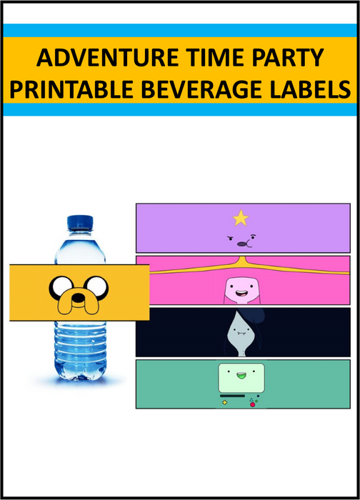 Adventure Time Party Drink Labels