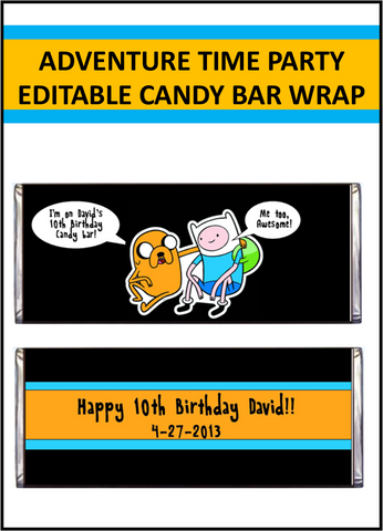 Adventure Time Candy Bar Wrappers - EDITABLE