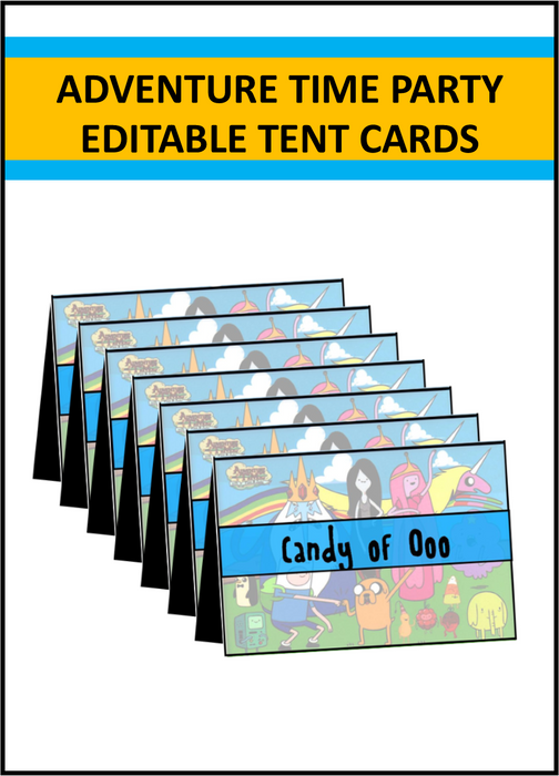 Adventure Time Party Supplies - Editable Tent Cards