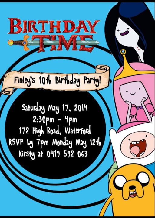 Adventure Time Party Invitation - EDITABLE