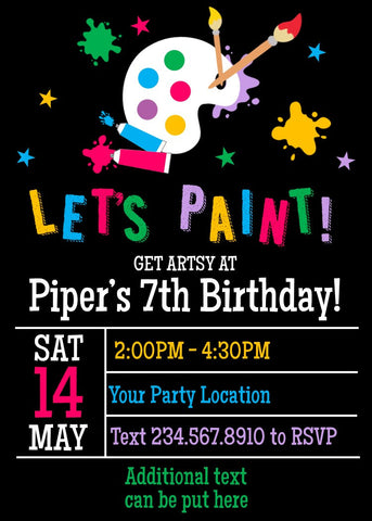 Art Party Invitation-2 - EDITABLE