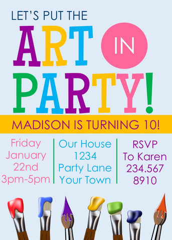 Art Party Invitation - EDITABLE