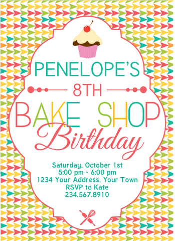 Bake Shop Birthday Invitation 1 - Editable!