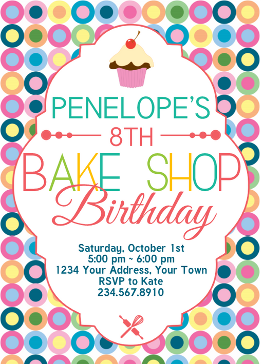 Bake Shop Birthday Invitation 2 - Editable!
