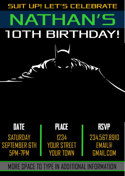 Batman Superhero Party Invitation - Editable!