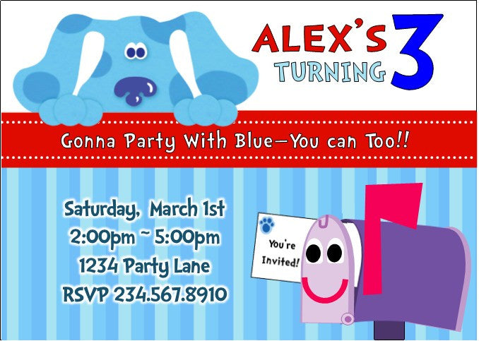 Blue's Clues Party Invitation - PERSONALIZED