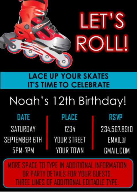 Boys Skate Party Invitation 3 - Editable