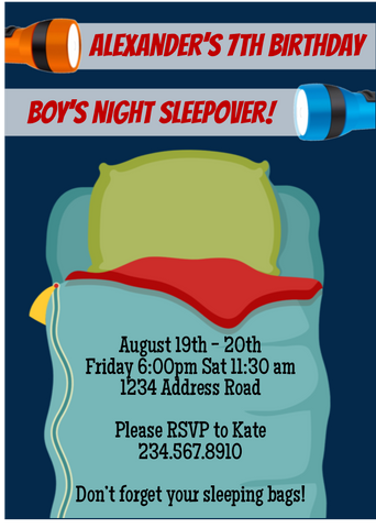 Boys Night Sleepover Invitation - Editable!