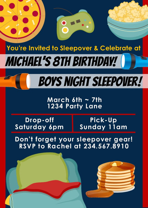 Boys Night Sleepover Party Invitation 2 - Editable