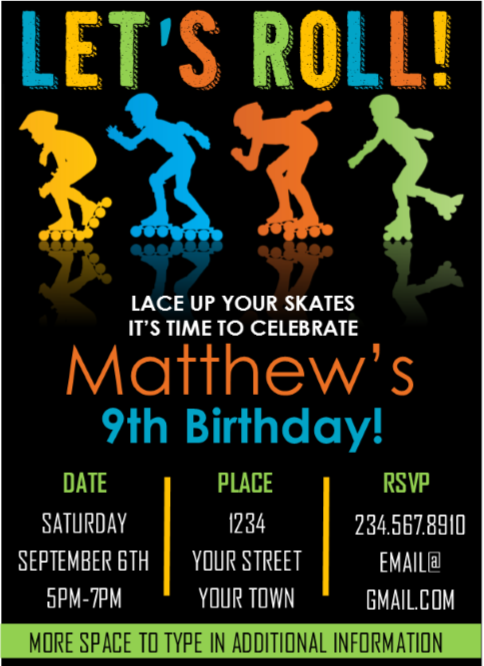 Boys Skate Party Invitation - Editable
