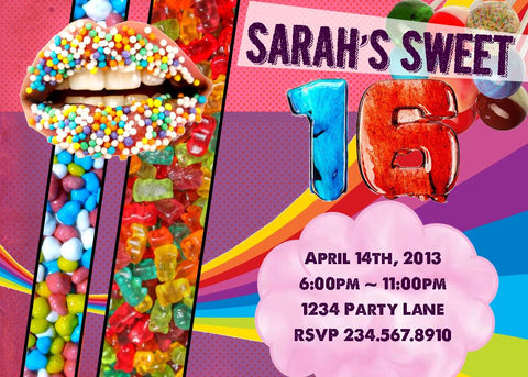Candy Rush Party Invitation - PERSONALIZED