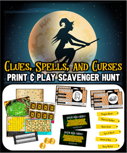 Clues,Spells, and Curses Halloween Scavenger Hunt