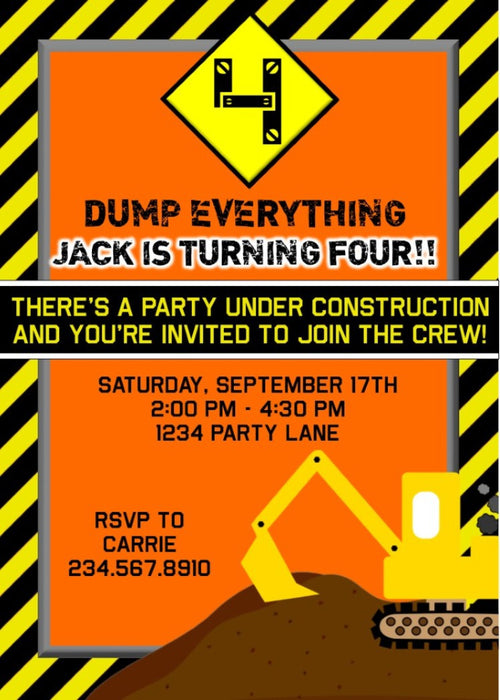 Construction Party Invitation - PERSONALIZED