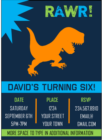Dinosaur RAWR! Party Invitation - EDITABLE