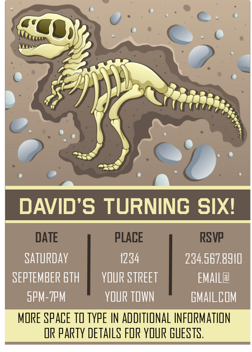 Dinosaur Fossil Party Invitation - EDITABLE