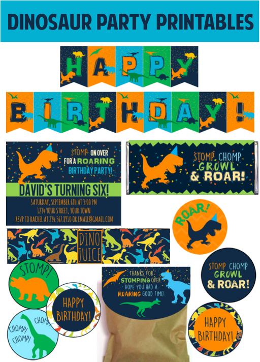 Dinosaur Party Printables w/ EDITABLE! Invitation