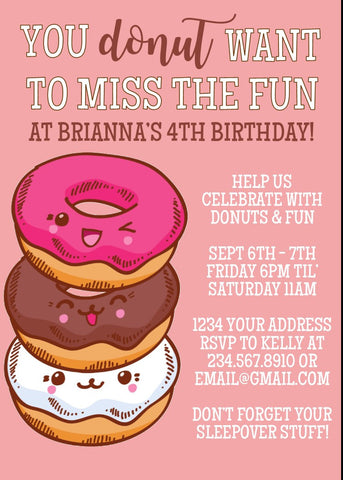 Donut Miss the Fun Party Invitation - Editable!