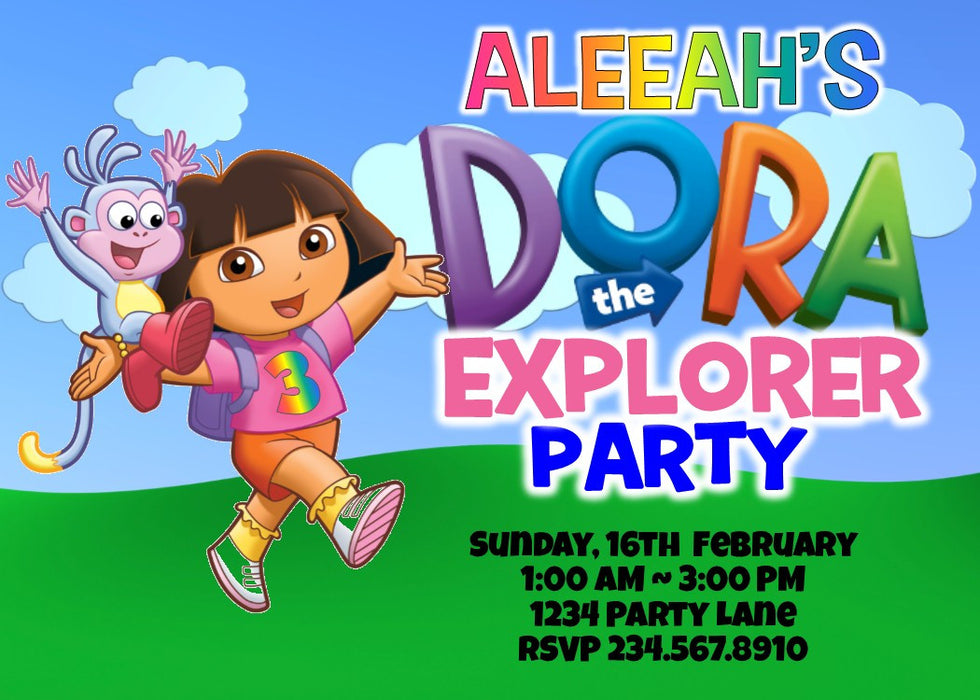 Dora the Explorer Party Invitation - PERSONALIZED — PartyGamesPlus