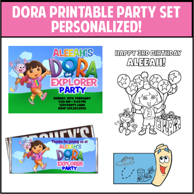Dora the Explorer Party Printables - PERSONALIZED!!
