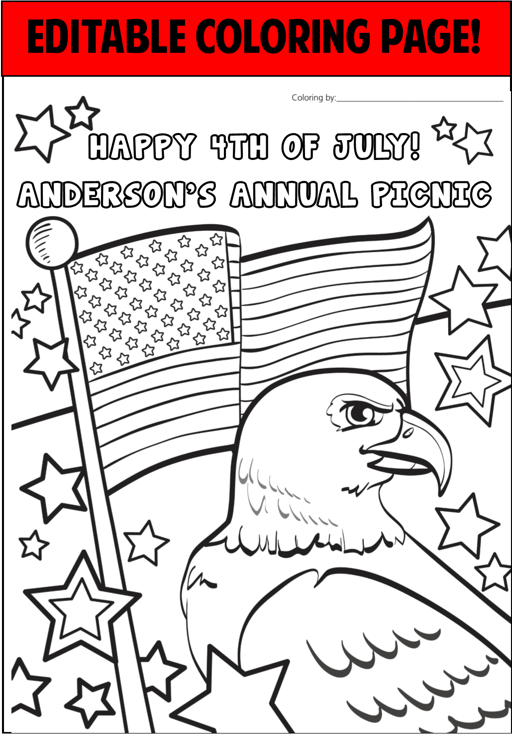 - 4th Of July Personalized Coloring Page - EDITABLE – PartyGamesPlus