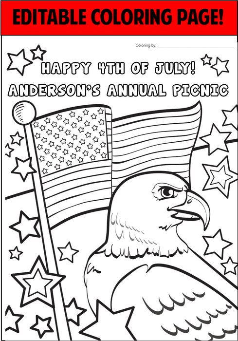 4th of July Personalized Coloring Page  - EDITABLE