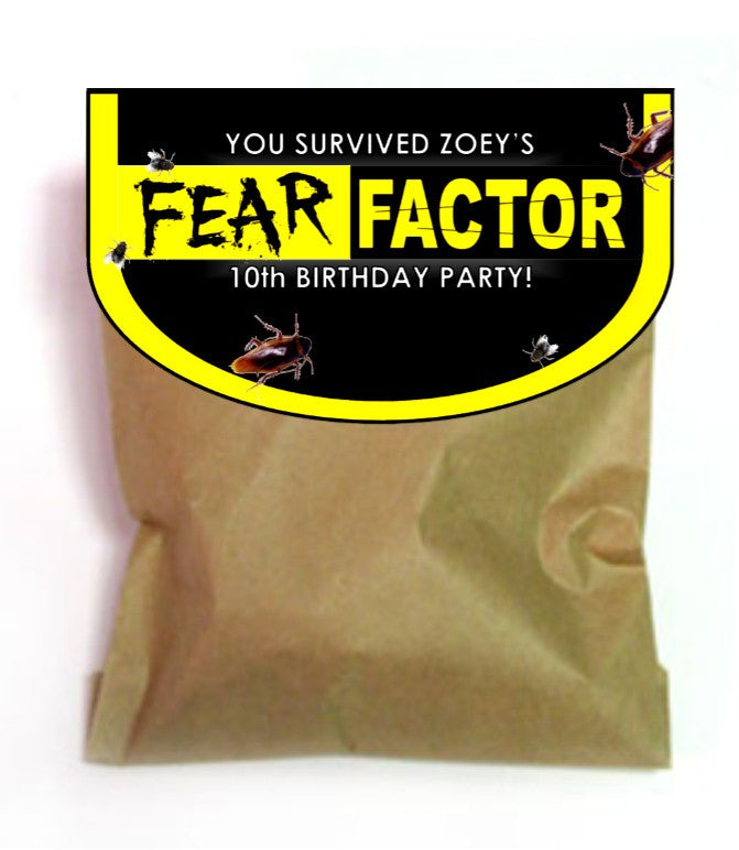 Fear Factor Favor Bag Toppers - EDITABLE