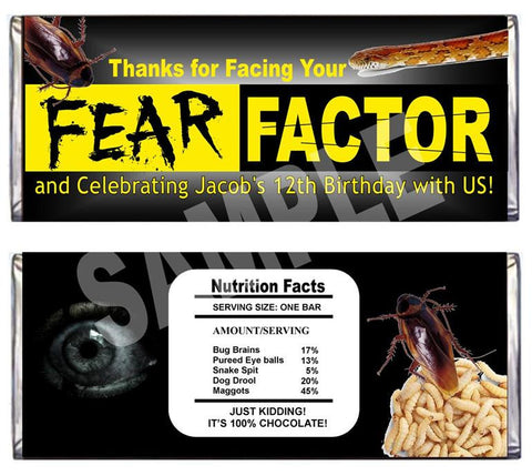 Fear Factor Candy Bar Wrappers - EDITABLE