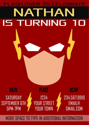 Flash Superhero Party Invitation - Editable!