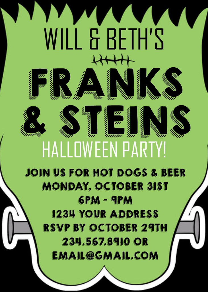 Frank and Steins Halloween Party Invitation - Editable!