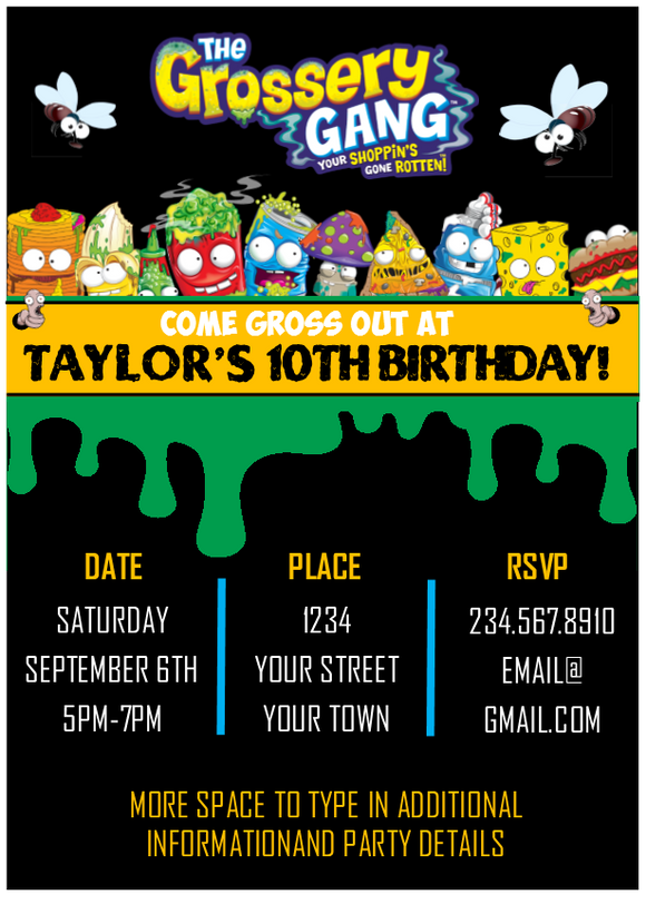 Grossery Gang Party Invitation - Editable