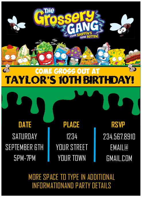 Grossery gang party invitation editable partygamesplus grossery gang party invitation editable stopboris