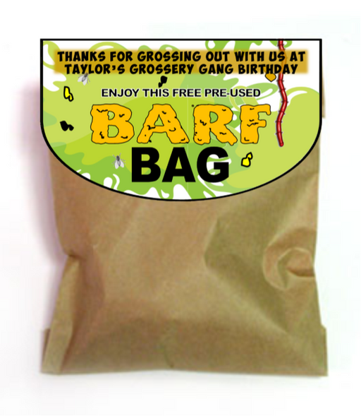 "Grossery Gang Favor 'Barf Bag"" Toppers - EDITABLE"