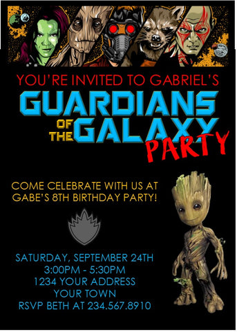 Guardians of the Galaxy Superhero Party Invitation - Editable!